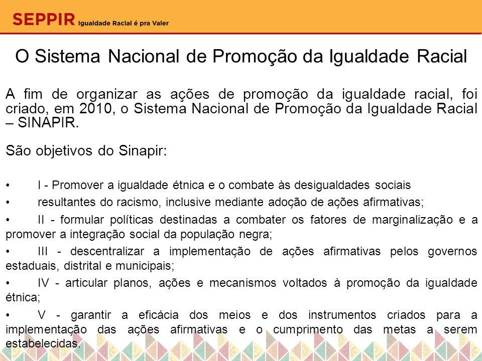 O Sistema Nacional de Promoção da Igualdade Racial A fim de organizar as ações de promoção da igualdade racial, foi criado, em 2010, o Sistema Naciona
