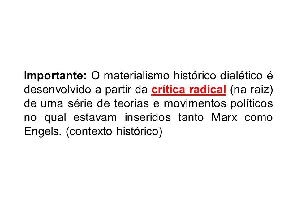 Importante: O materialismo histórico dialético é desenvolvido a partir da crítica radical (na raiz) de uma série de teorias e movimentos políticos no