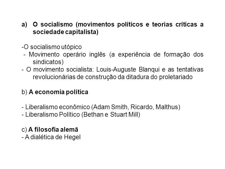 a)O socialismo (movimentos políticos e teorias críticas a sociedade capitalista) -O socialismo utópico - Movimento operário inglês (a experiência de f