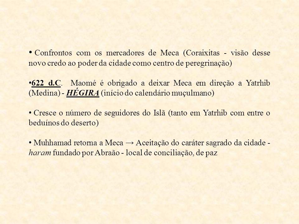 Confrontos com os mercadores de Meca (Coraixitas - visão desse novo credo ao poder da cidade como centro de peregrinação) 622 d.C. Maomé é obrigado a