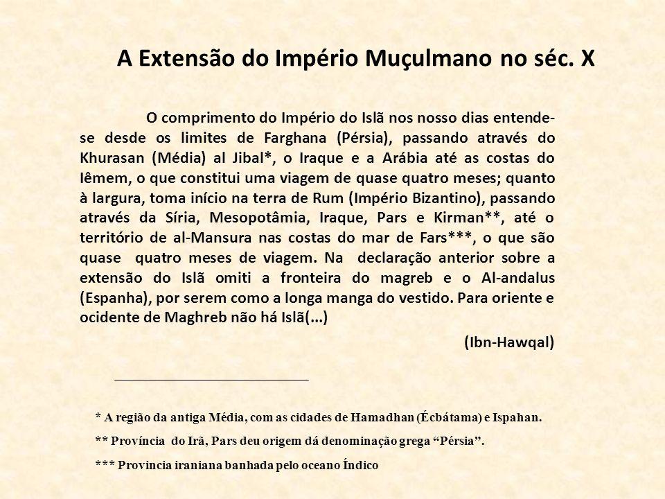 A Extensão do Império Muçulmano no séc. X O comprimento do Império do Islã nos nosso dias entende- se desde os limites de Farghana (Pérsia), passando