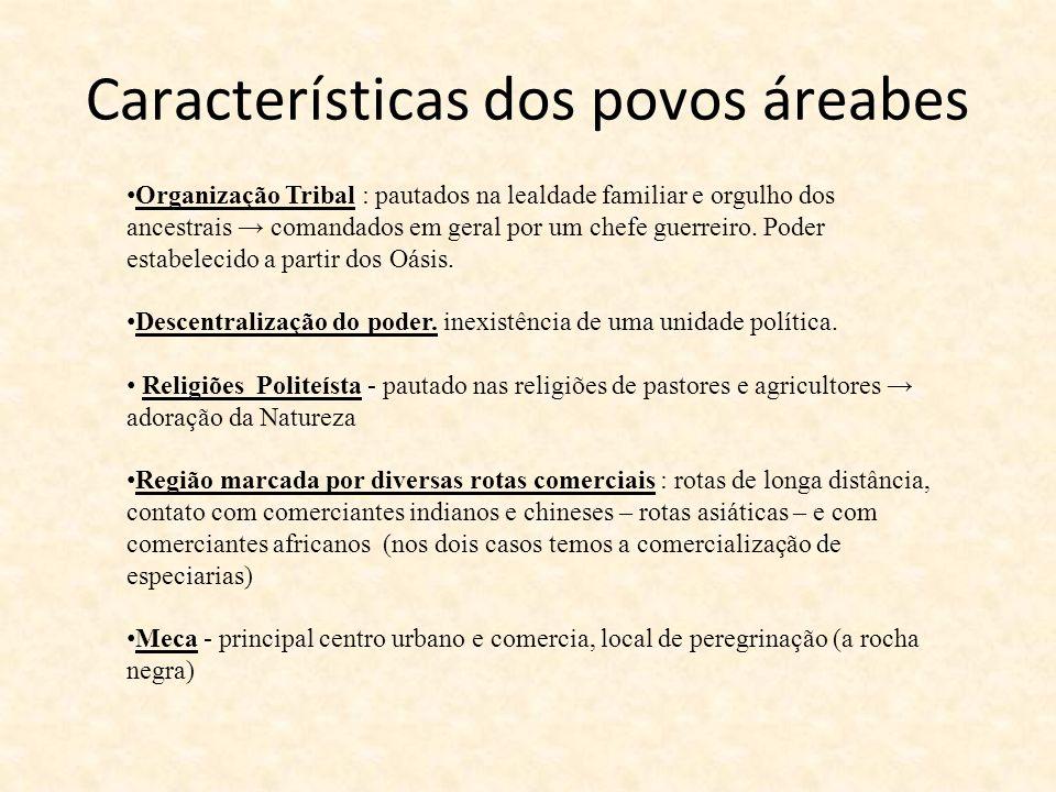 Características dos povos áreabes Organização Tribal : pautados na lealdade familiar e orgulho dos ancestrais comandados em geral por um chefe guerrei