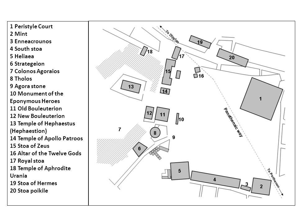 1 Peristyle Court 2 Mint 3 Enneacrounos 4 South stoa 5 Heliaea 6 Strategeion 7 Colonos Agoraios 8 Tholos 9 Agora stone 10 Monument of the Eponymous He