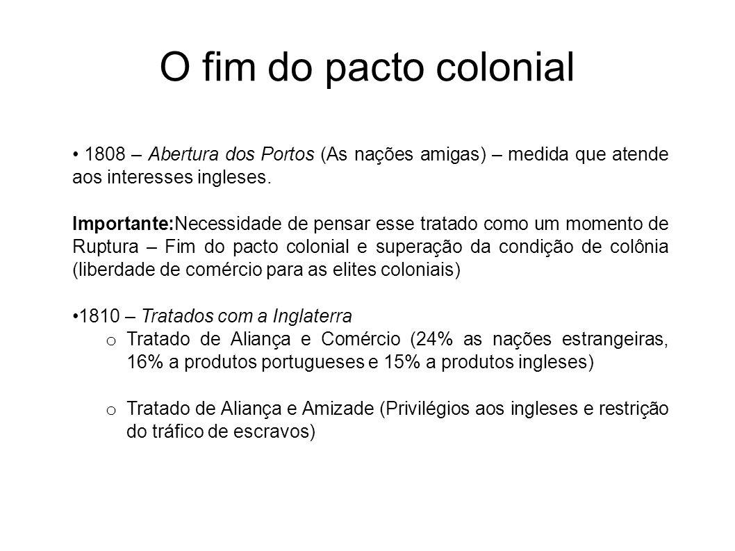 O fim do pacto colonial 1808 – Abertura dos Portos (As nações amigas) – medida que atende aos interesses ingleses. Importante:Necessidade de pensar es