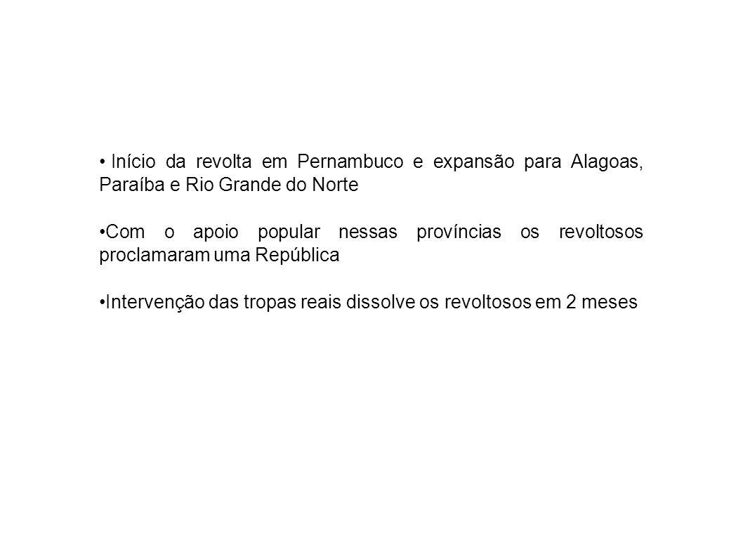 Início da revolta em Pernambuco e expansão para Alagoas, Paraíba e Rio Grande do Norte Com o apoio popular nessas províncias os revoltosos proclamaram uma República Intervenção das tropas reais dissolve os revoltosos em 2 meses