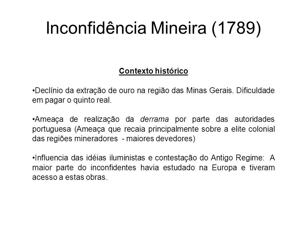 Inconfidência Mineira (1789) Contexto histórico Declínio da extração de ouro na região das Minas Gerais. Dificuldade em pagar o quinto real. Ameaça de