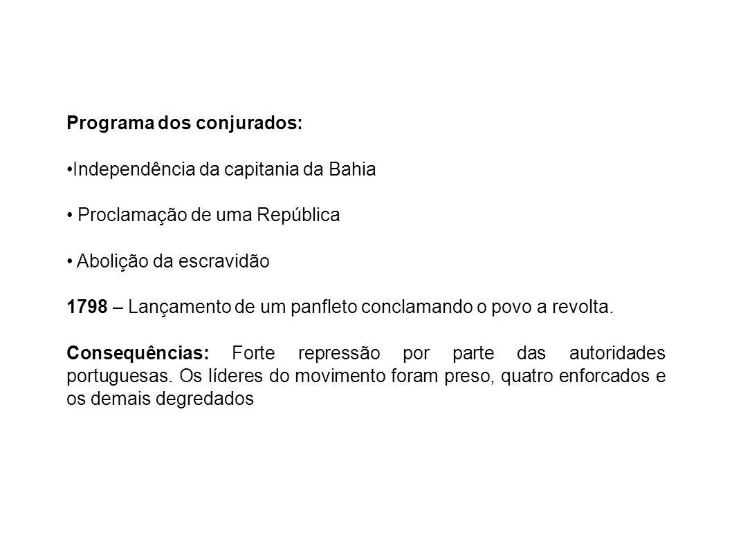Programa dos conjurados: Independência da capitania da Bahia Proclamação de uma República Abolição da escravidão 1798 – Lançamento de um panfleto conclamando o povo a revolta.