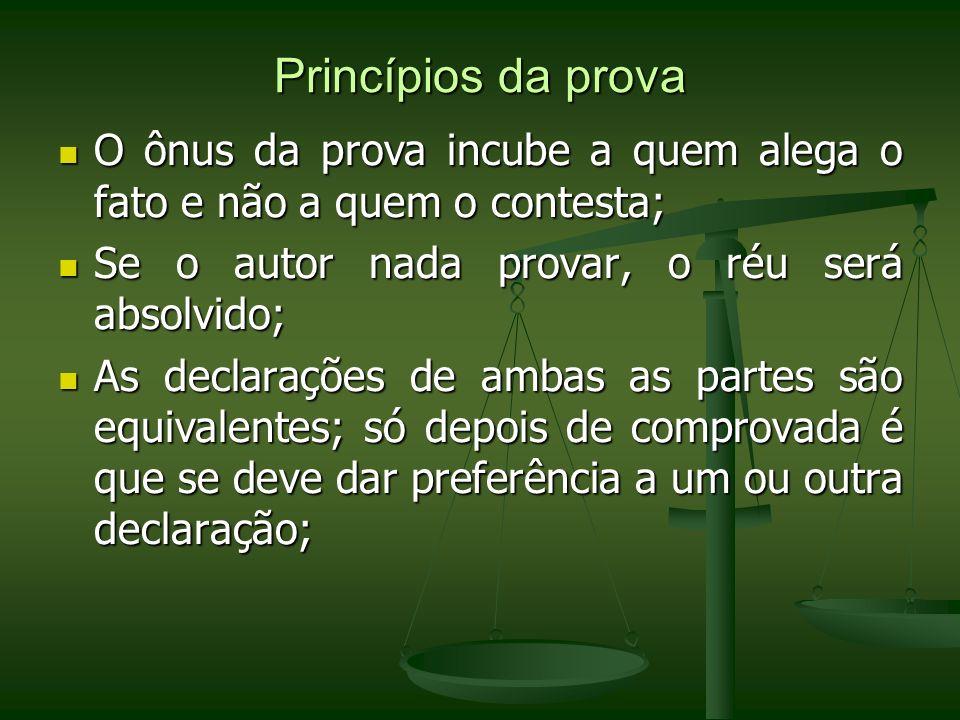 Princípios da prova O ônus da prova incube a quem alega o fato e não a quem o contesta; O ônus da prova incube a quem alega o fato e não a quem o cont