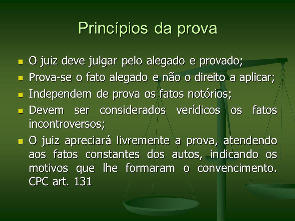 Princípios da prova O juiz deve julgar pelo alegado e provado; O juiz deve julgar pelo alegado e provado; Prova-se o fato alegado e não o direito a ap
