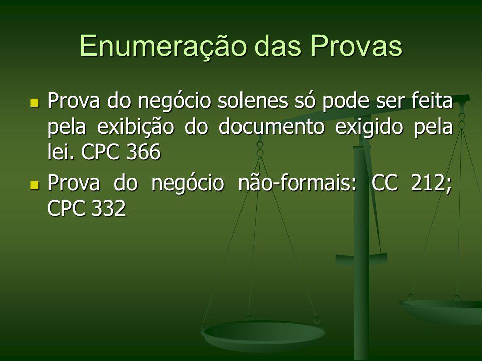 Enumeração das Provas Prova do negócio solenes só pode ser feita pela exibição do documento exigido pela lei. CPC 366 Prova do negócio solenes só pode