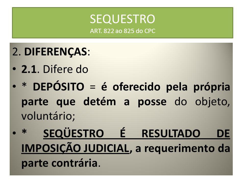 SEQUESTRO ART. 822 ao 825 do CPC 2. DIFERENÇAS: 2.1. Difere do * DEPÓSITO = é oferecido pela própria parte que detém a posse do objeto, voluntário; *