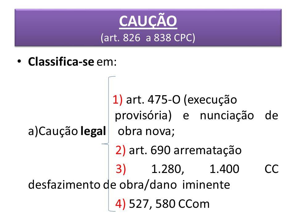 CAUÇÃO (art. 826 a 838 CPC) Classifica-se em: 1) art. 475-O (execução provisória) e nunciação de a)Caução legal obra nova; 2) art. 690 arrematação 3)