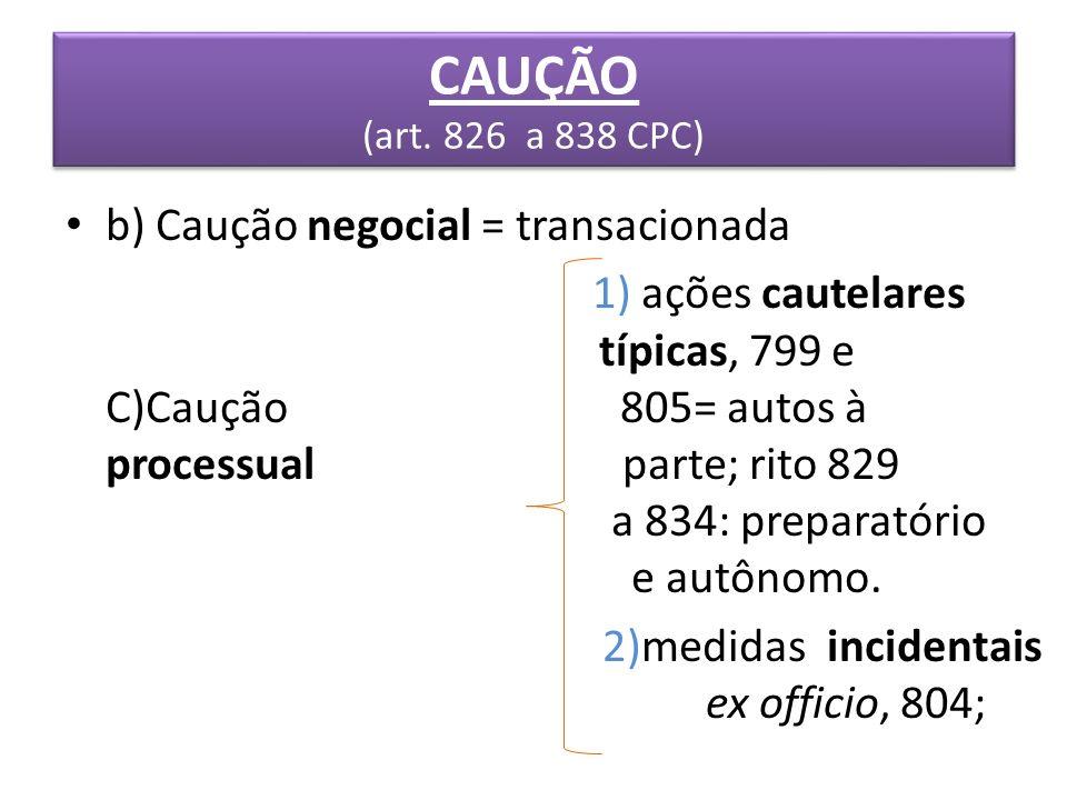 b) Caução negocial = transacionada 1) ações cautelares típicas, 799 e C)Caução 805= autos à processual parte; rito 829 a 834: preparatório e autônomo.