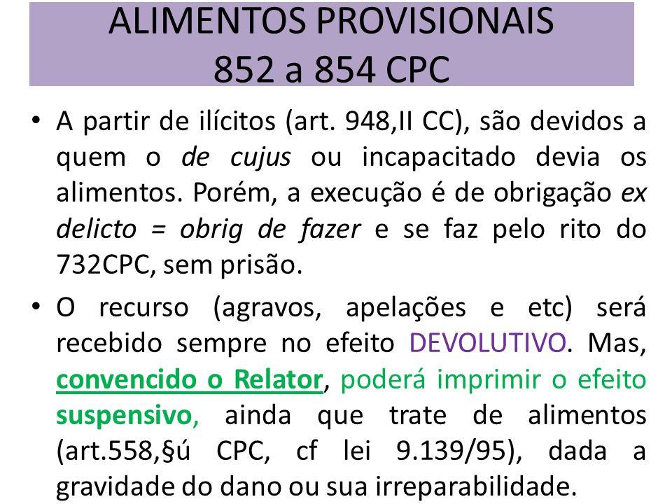 A partir de ilícitos (art. 948,II CC), são devidos a quem o de cujus ou incapacitado devia os alimentos. Porém, a execução é de obrigação ex delicto =