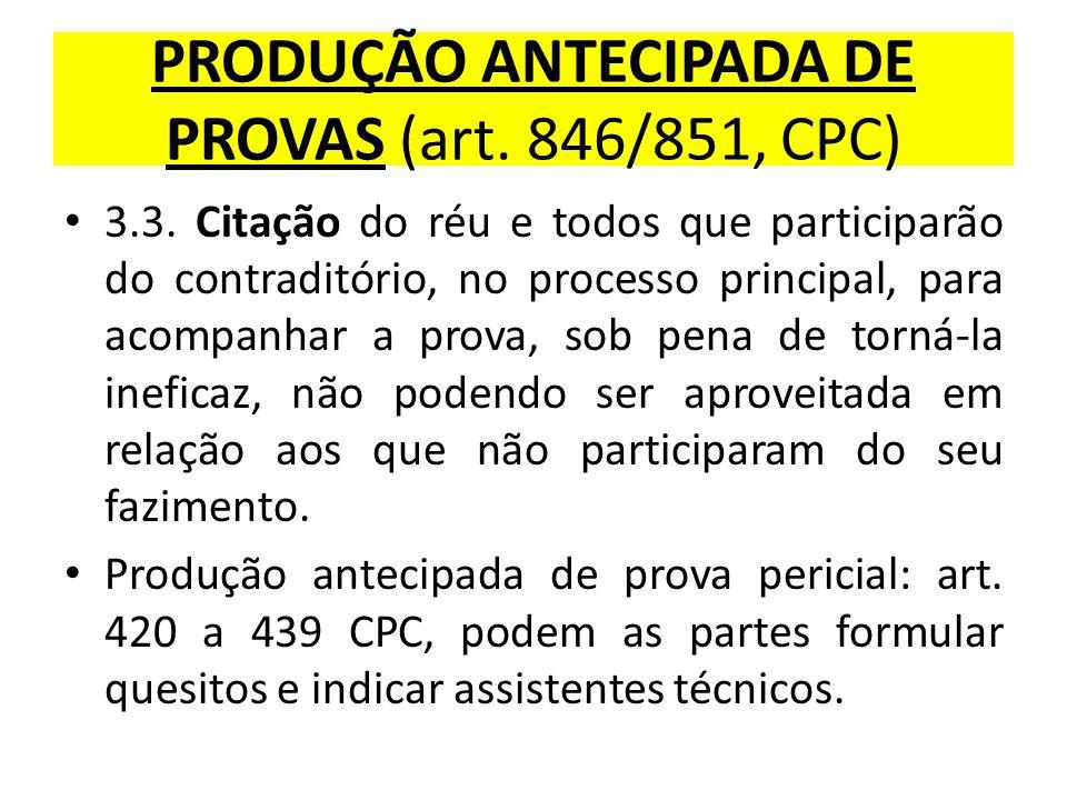 PRODUÇÃO ANTECIPADA DE PROVAS (art. 846/851, CPC) 3.3. Citação do réu e todos que participarão do contraditório, no processo principal, para acompanha