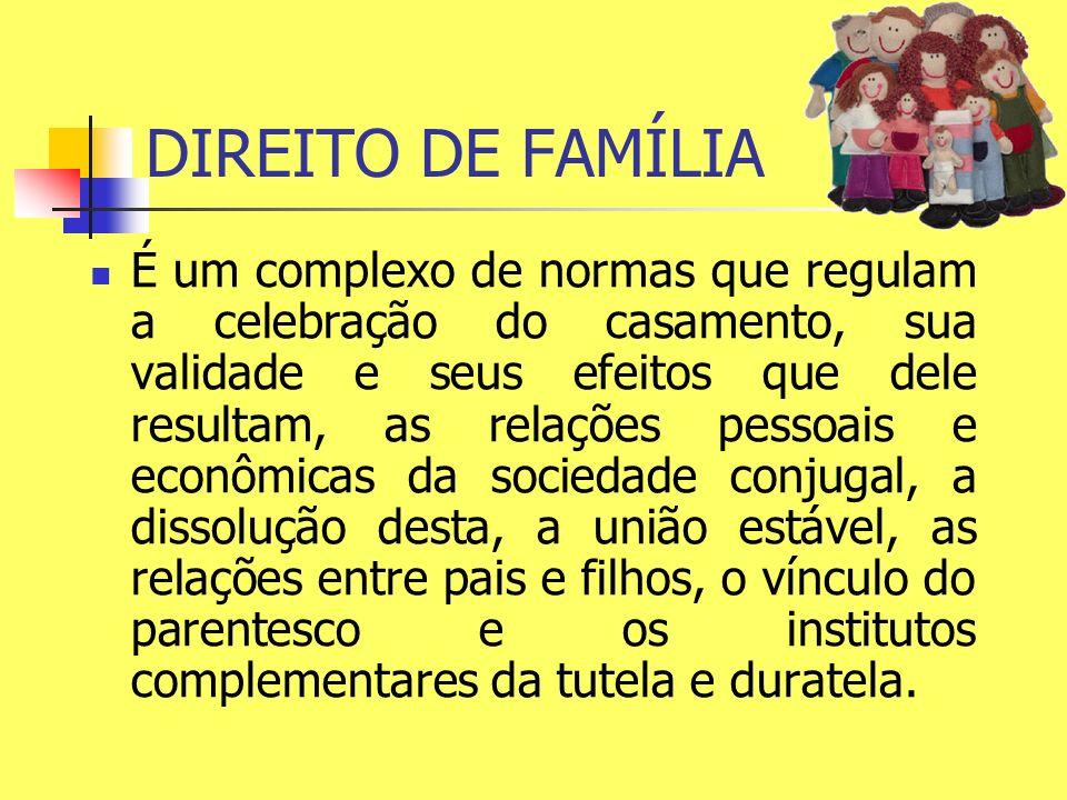 DIREITO DE FAMÍLIA É um complexo de normas que regulam a celebração do casamento, sua validade e seus efeitos que dele resultam, as relações pessoais