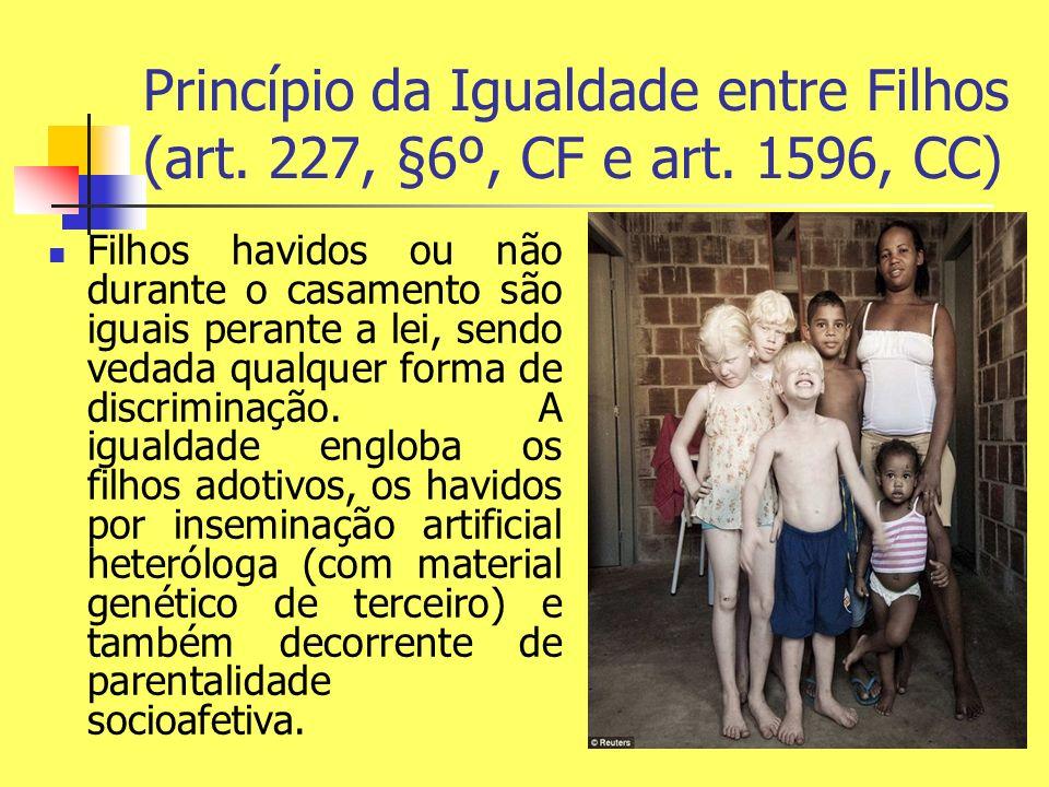 Princípio da Igualdade entre Filhos (art. 227, §6º, CF e art. 1596, CC) Filhos havidos ou não durante o casamento são iguais perante a lei, sendo veda