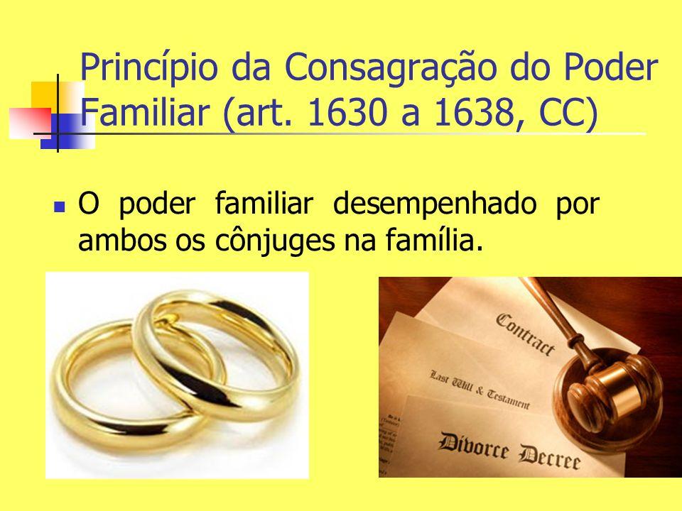 Princípio da Consagração do Poder Familiar (art. 1630 a 1638, CC) O poder familiar desempenhado por ambos os cônjuges na família.