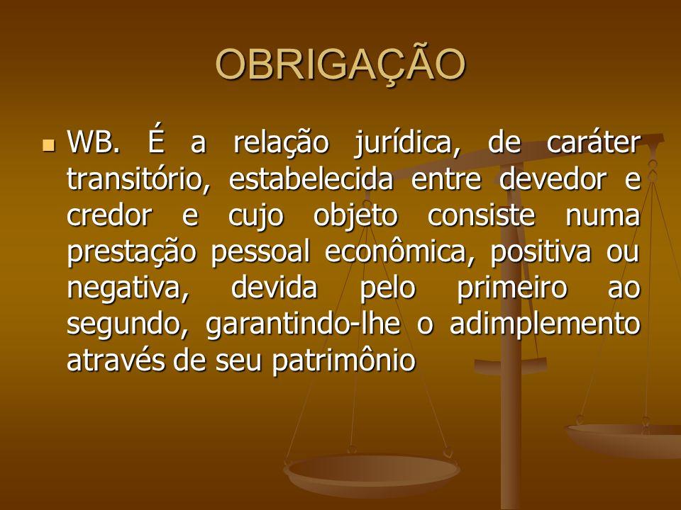 OBRIGAÇÃO WB. É a relação jurídica, de caráter transitório, estabelecida entre devedor e credor e cujo objeto consiste numa prestação pessoal econômic