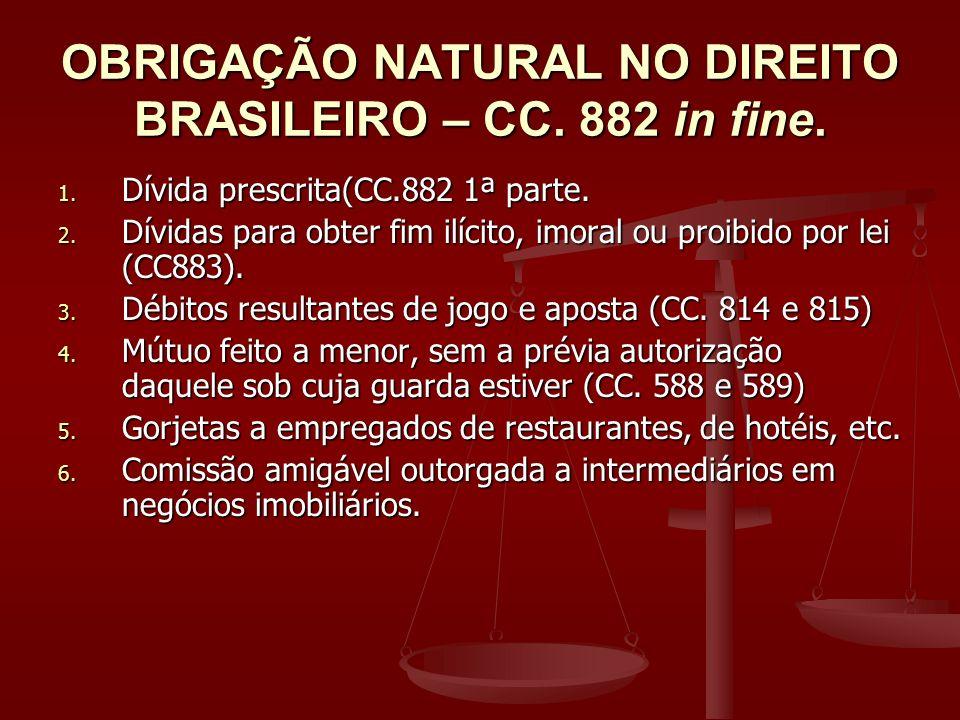 OBRIGAÇÃO NATURAL NO DIREITO BRASILEIRO – CC. 882 in fine. 1. Dívida prescrita(CC.882 1ª parte. 2. Dívidas para obter fim ilícito, imoral ou proibido