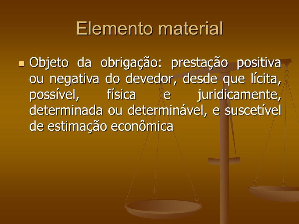 Elemento material Objeto da obrigação: prestação positiva ou negativa do devedor, desde que lícita, possível, física e juridicamente, determinada ou d