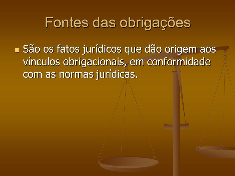 Fontes das obrigações São os fatos jurídicos que dão origem aos vínculos obrigacionais, em conformidade com as normas jurídicas. São os fatos jurídico