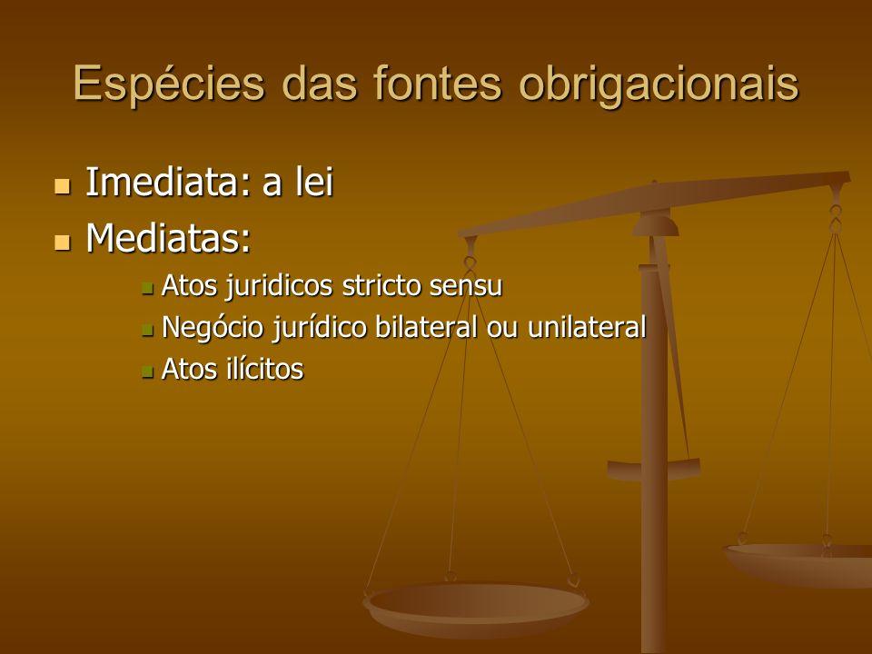 Espécies das fontes obrigacionais Imediata: a lei Imediata: a lei Mediatas: Mediatas: Atos juridicos stricto sensu Atos juridicos stricto sensu Negóci