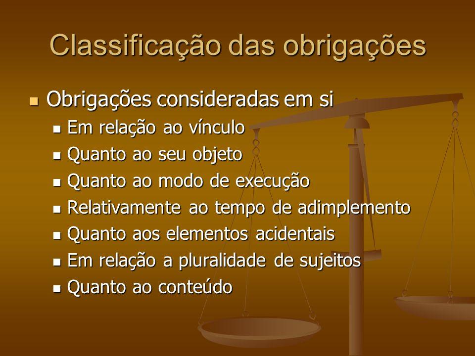 Classificação das obrigações Obrigações consideradas em si Obrigações consideradas em si Em relação ao vínculo Em relação ao vínculo Quanto ao seu obj
