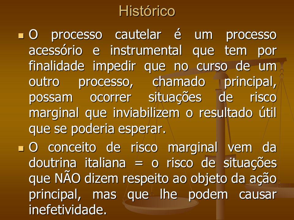 Histórico O processo cautelar é um processo acessório e instrumental que tem por finalidade impedir que no curso de um outro processo, chamado princip