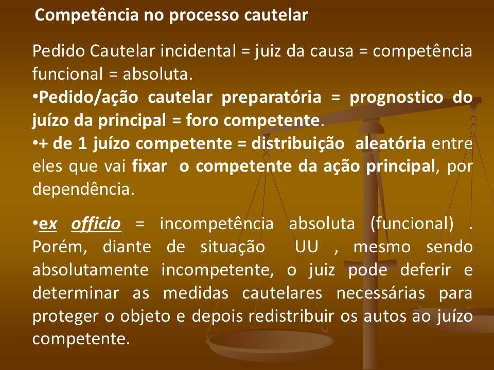 Competência no processo cautelar Pedido Cautelar incidental = juiz da causa = competência funcional = absoluta. Pedido/ação cautelar preparatória = pr