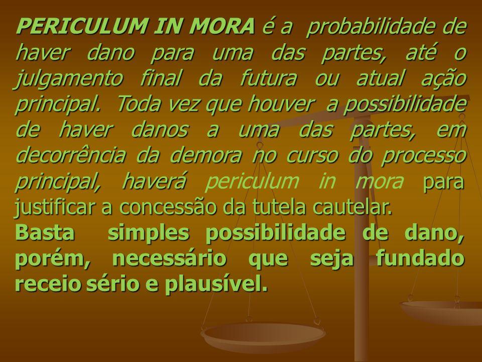 PERICULUM IN MORA é a probabilidade de haver dano para uma das partes, até o julgamento final da futura ou atual ação principal. Toda vez que houver a
