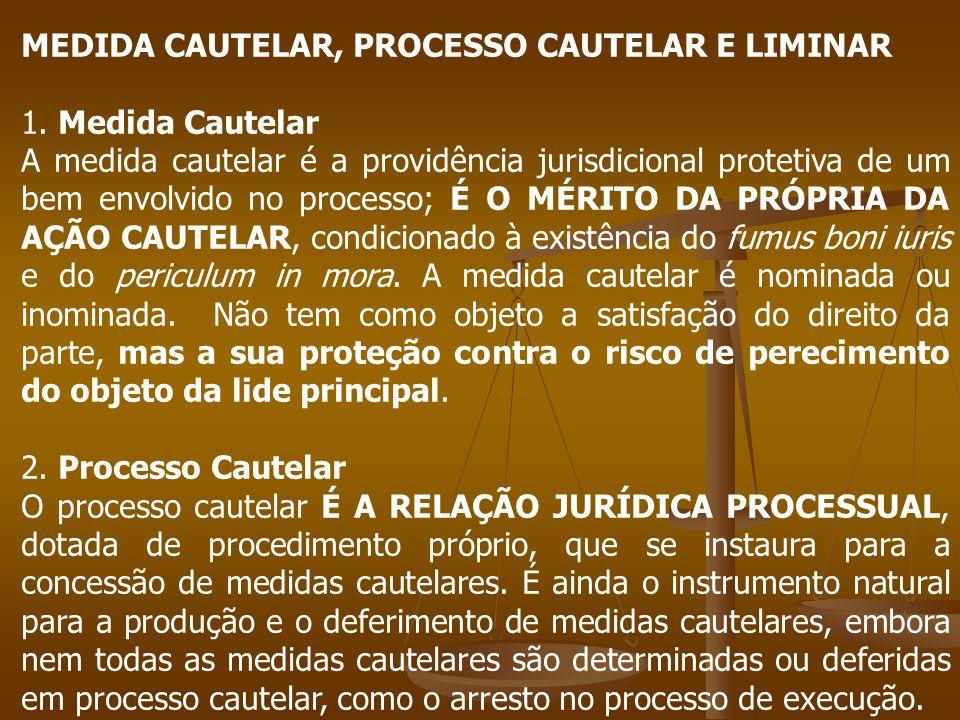 MEDIDA CAUTELAR, PROCESSO CAUTELAR E LIMINAR 1. Medida Cautelar A medida cautelar é a providência jurisdicional protetiva de um bem envolvido no proce