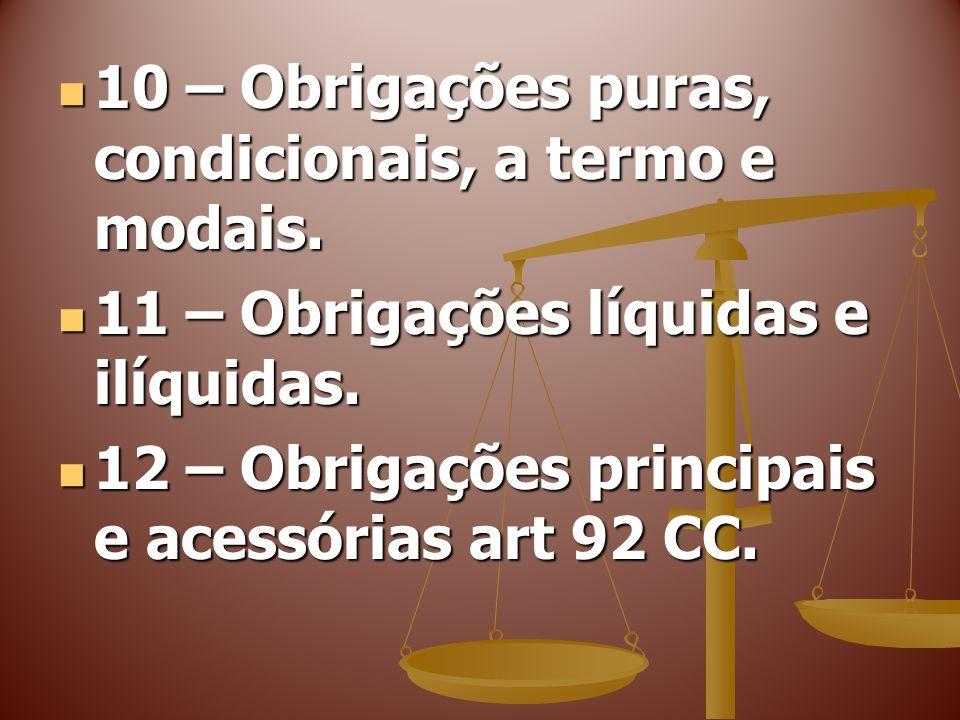 10 – Obrigações puras, condicionais, a termo e modais. 10 – Obrigações puras, condicionais, a termo e modais. 11 – Obrigações líquidas e ilíquidas. 11