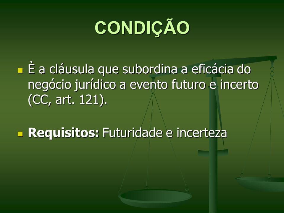 CONDIÇÃO È a cláusula que subordina a eficácia do negócio jurídico a evento futuro e incerto (CC, art. 121). È a cláusula que subordina a eficácia do