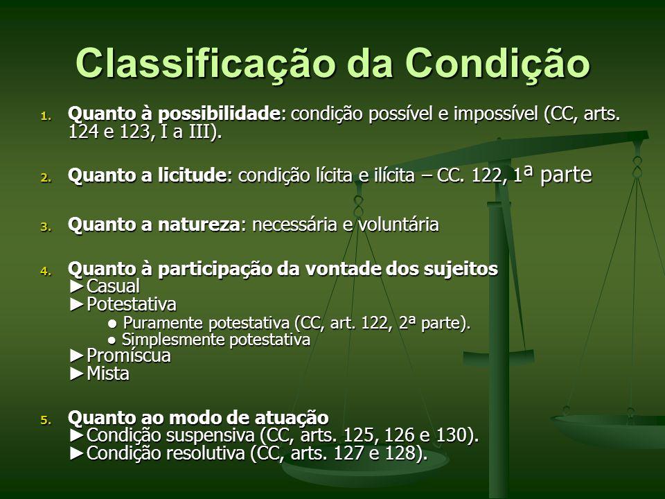 Classificação da Condição 1. Quanto à possibilidade: condição possível e impossível (CC, arts. 124 e 123, I a III). 2. Quanto a licitude: condição líc