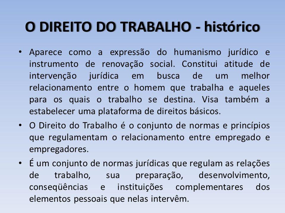 O DIREITO DO TRABALHO - históricoO DIREITO DO TRABALHO - histórico Aparece como a expressão do humanismo jurídico e instrumento de renovação social. C