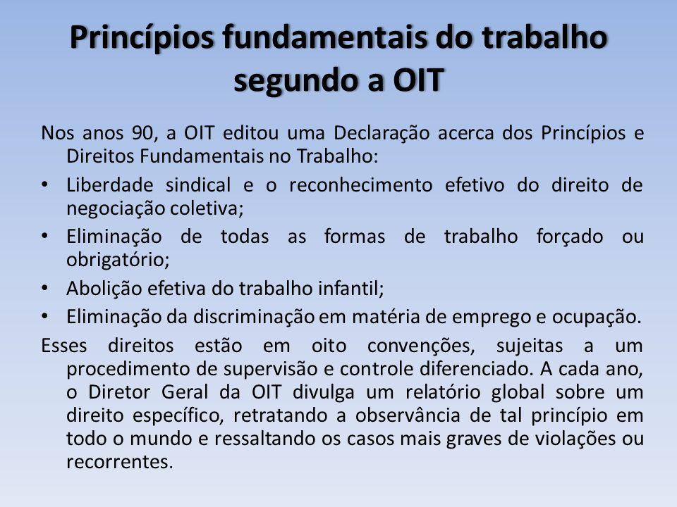 Princípios fundamentais do trabalho segundo a OIT Nos anos 90, a OIT editou uma Declaração acerca dos Princípios e Direitos Fundamentais no Trabalho: