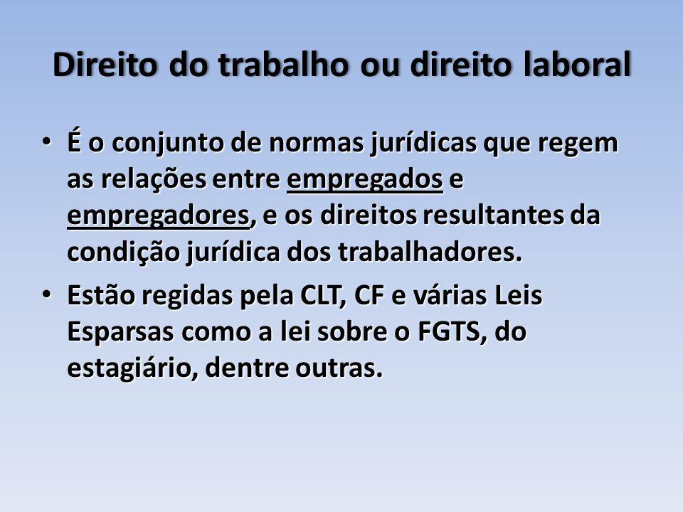 Direito do trabalho ou direito laboralDireito do trabalho ou direito laboral É o conjunto de normas jurídicas que regem as relações entre empregados e