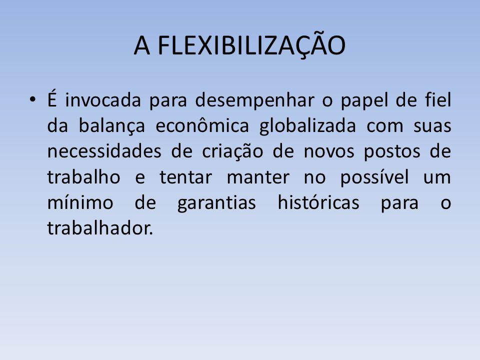 A FLEXIBILIZAÇÃO É invocada para desempenhar o papel de fiel da balança econômica globalizada com suas necessidades de criação de novos postos de trab