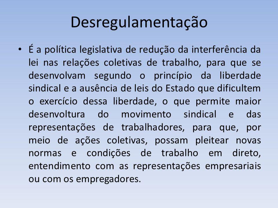 Desregulamentação É a política legislativa de redução da interferência da lei nas relações coletivas de trabalho, para que se desenvolvam segundo o pr