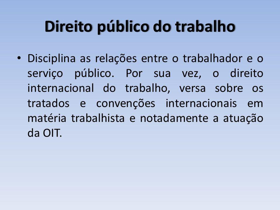 Direito público do trabalhoDireito público do trabalho Disciplina as relações entre o trabalhador e o serviço público. Por sua vez, o direito internac