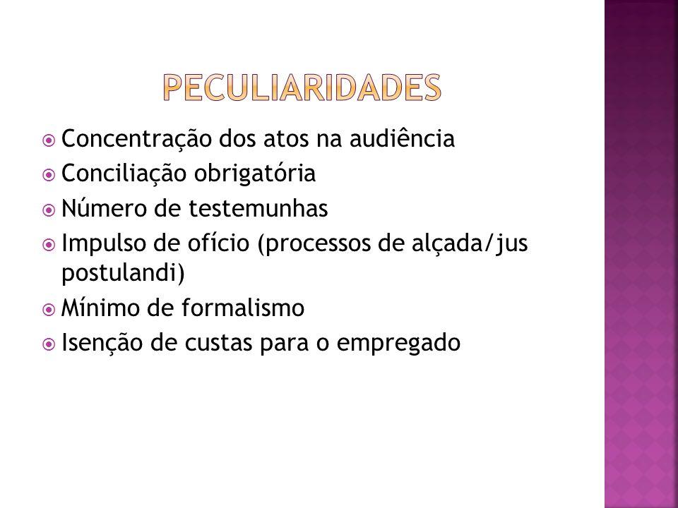 Concentração dos atos na audiência Conciliação obrigatória Número de testemunhas Impulso de ofício (processos de alçada/jus postulandi) Mínimo de form