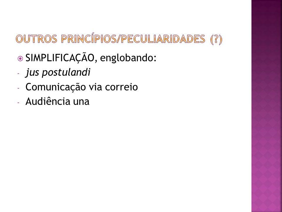 SIMPLIFICAÇÃO, englobando: - jus postulandi - Comunicação via correio - Audiência una