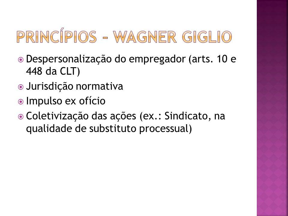 Despersonalização do empregador (arts. 10 e 448 da CLT) Jurisdição normativa Impulso ex ofício Coletivização das ações (ex.: Sindicato, na qualidade d