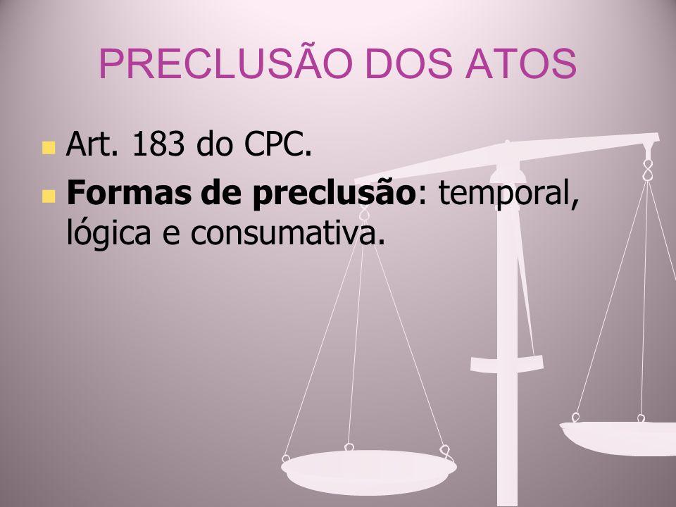PRECLUSÃO DOS ATOS Art. 183 do CPC. Formas de preclusão: temporal, lógica e consumativa.
