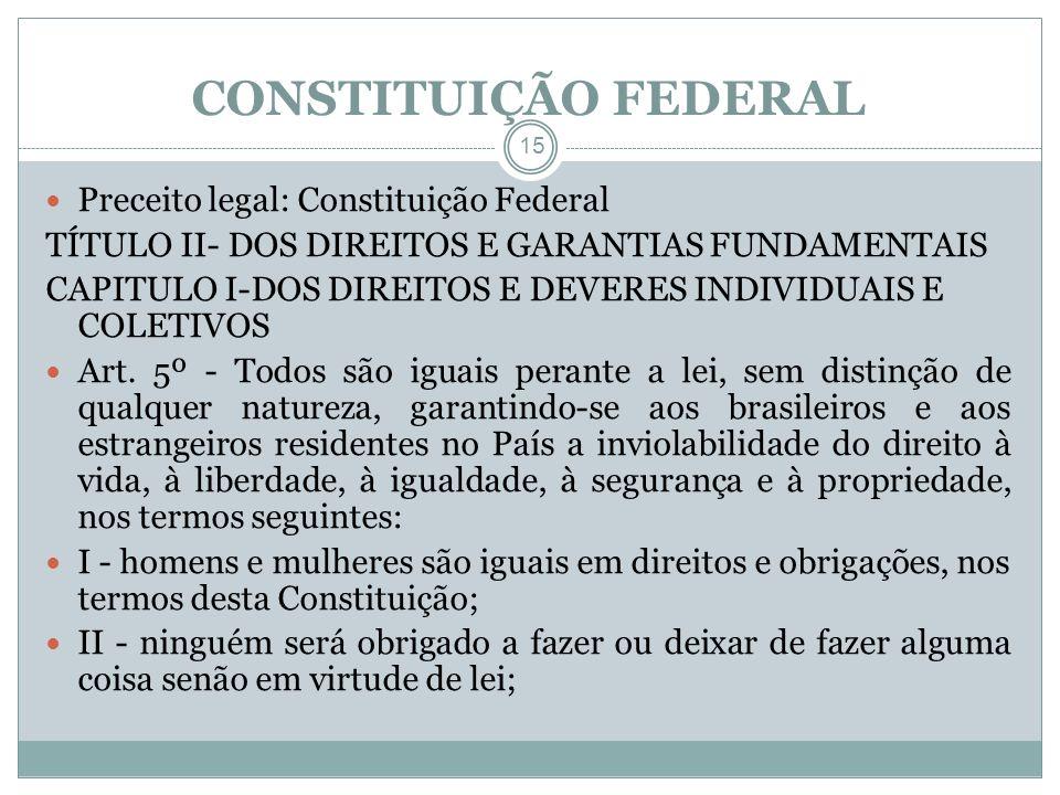 CONSTITUIÇÃO FEDERAL 15 Preceito legal: Constituição Federal TÍTULO II- DOS DIREITOS E GARANTIAS FUNDAMENTAIS CAPITULO I-DOS DIREITOS E DEVERES INDIVI