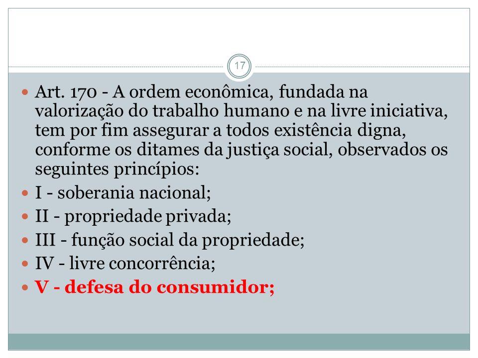 17 Art. 170 - A ordem econômica, fundada na valorização do trabalho humano e na livre iniciativa, tem por fim assegurar a todos existência digna, conf