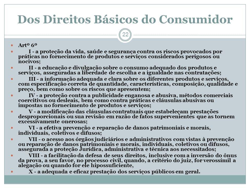 Dos Direitos Básicos do Consumidor 22 Artº 6º I - a proteção da vida, saúde e segurança contra os riscos provocados por práticas no fornecimento de pr