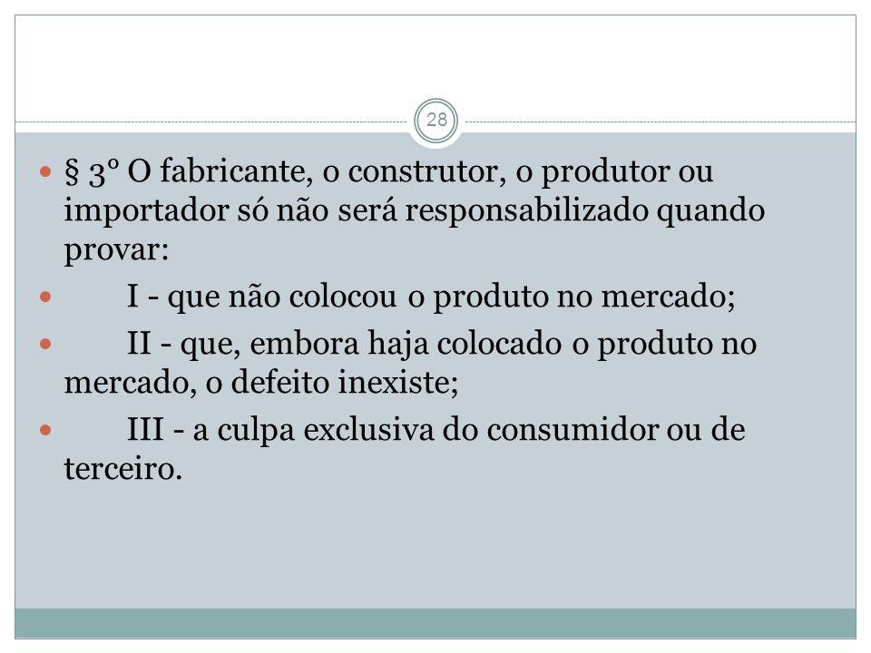 28 § 3° O fabricante, o construtor, o produtor ou importador só não será responsabilizado quando provar: I - que não colocou o produto no mercado; II