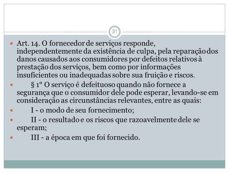 31 Art. 14. O fornecedor de serviços responde, independentemente da existência de culpa, pela reparação dos danos causados aos consumidores por defeit